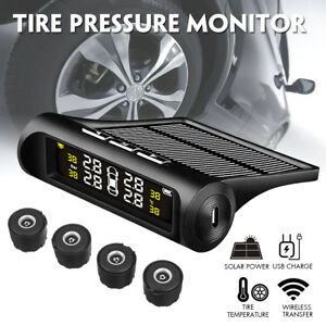 Car Wireless Tpms Tire Tyre Pressure Monitor System Solar Power 4 External Senor