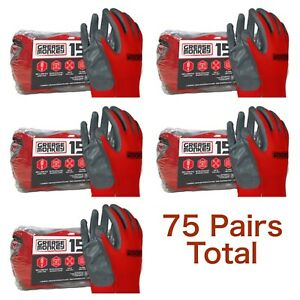 Lot 5 Pairs Grease Monkey Nitrile Coated Work Gloves Grey Red Big L Large 15