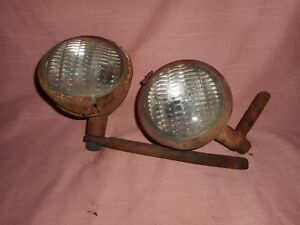 Farmall 140 Tractor Head Lights With Mounting Brackets Pair