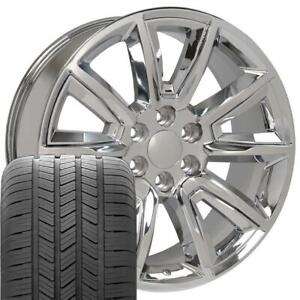 20x8 5 Chrome Tahoe Style Wheels Tires Set Of 4 Rims Fit Chevrolet Gmc Cp