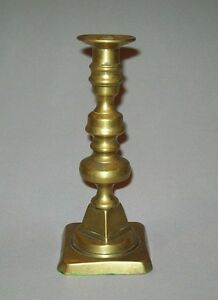 Old Antique Vtg 1820 S 19th C Brass Push Up Candlestick Nice Form Candle Stick