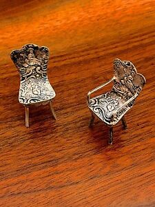 German 800 Silver 2 Repousse Miniature Chairs One With Arm Rests No Monograms