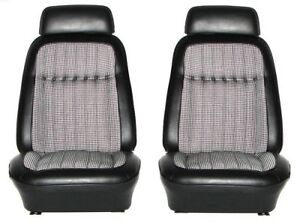 1969 Camaro Deluxe Houndstooth Interior Bucket Seat Covers Black