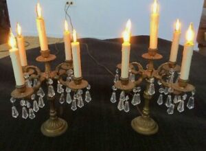 Pair Of Candelabras Crystal Brass Electric Antique Spanish