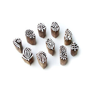 Leaf And Assorted Ethnic Pattern Small Wood Stamps For Printing set Of 10