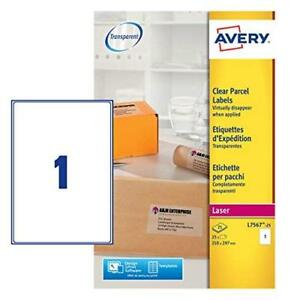 Avery L7567 25 Self adhesive Clear Parcel shipping Labels 1 Label Per A4 Sheet