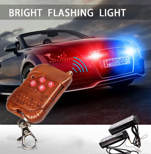 Red blue Police Emergency Strobe Dash Bar Wireless Warning Flashing Light Lamp