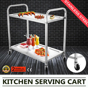 2 Shelf Rolling Stainless Steel Restaurant Utility Cart Medicine Catering Work