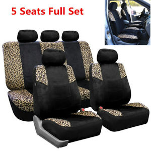 5 Seats Full Set Car Leopard Print Seat Cover Cushion Front Rear Seat Protector