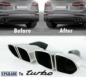 Turbo Look Porsche Cayenne Exhaust Muffler Tips For 958 2 V6 Base 2015 17 Matte