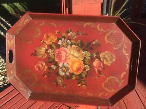 1800s Big Antique French Tole Toleware Floral Painted Metal Tray Red Chippendale