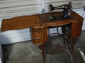 Free Sewing Machine Co Antique The Free Oak Treadle 6 Drawer Cabinet W Base