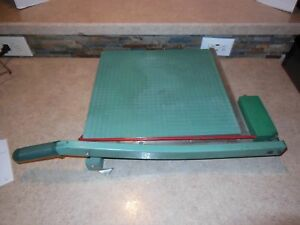 807 Vintage Guillotine Style Old School Green Paper Cutter Premier Brand 16 X 16