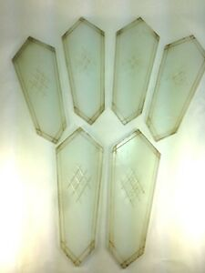 Six 1930 S Art Deco Glass Replacement Panels Wall Sconce Fixture Glass