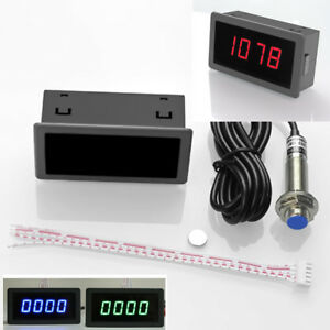 Red 4 Digital Engine Tach Tachometer Hour Meter Inductive For Motorcycle Motor