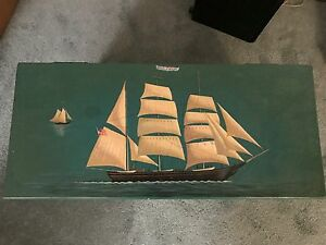 Vintage Hand Painted Nautical Chest Box Trunk