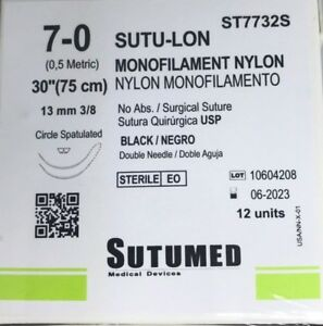 Sutumed Black Nylon Monofilament 7 0 3 8 13mm Spatulated Double Needle Suture