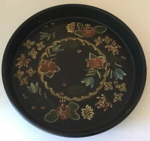 Tole Toleware Black Tin Serving Tray Floral 13 Round Hand Painted Unmarked