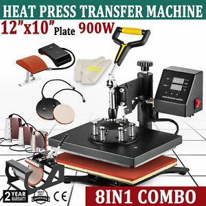 8 In 1 Dual Digital Transfer Sublimation Heat Press Machine T shirt Mug 12 x10