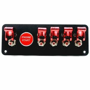 Car Ignition Switch Engine Start Push Button 5 Toggle Racing Panel Flip up
