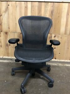 Herman Miller Aeron Classic Office Chair C Large Fully Adjustable Graphite Frame