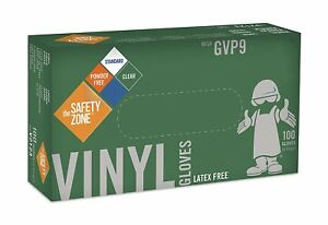 Safety Zone Gvp9 Clear Vinyl Exam Gloves Small 10 Boxes Of 100