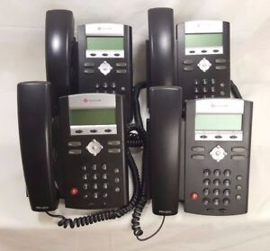 Lot Of 4 Polycom Soundpoint Ip 335 Telephones W Handsets Stands Reset