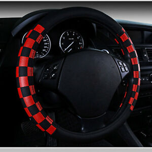 15 38cm Black Red Grid No Smell Eco Leather Auto Car Steering Wheel Cover New