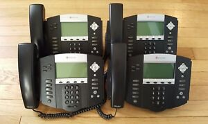 Lot Of 4 Polycom Soundpoint Ip 550 Sip Business Phones W Stands