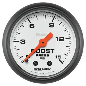 Autometer 5702 Phantom Mechanical Boost Gauge White Red Pointer 0 15 Psi