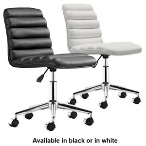 Admire Office Chair Zuo Modern Chair Armless Conference Chair Black White