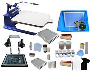 1 Color Screen Printing Kit Simple Press Machine Materials Consumable Package