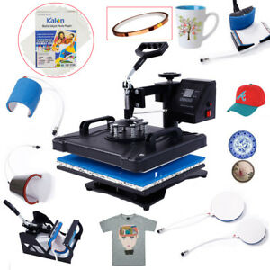8 In 1 Heat Press Machine Transfer T shirt Mug Hat Plate Cap Paper Fixed Glue