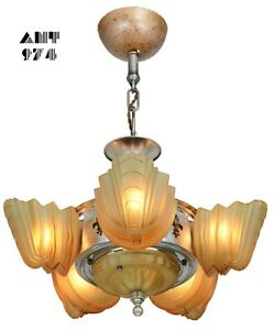 Very Collectible Art Deco Slip Shade 6 Shade Chandelier By Halcolite Ant 974