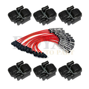 6 Pack Ignition Spark Coils With Plug Wire Sets For Mercedes Benz C Cl Clk Ml