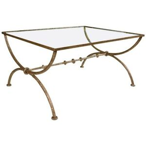 Giacometti Style Wrought Iron Glass Top Coffee Or Low Table