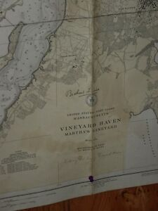 Old Working 1939 Usc Gs Nautical Chart Martha S Vineyard Nice Size