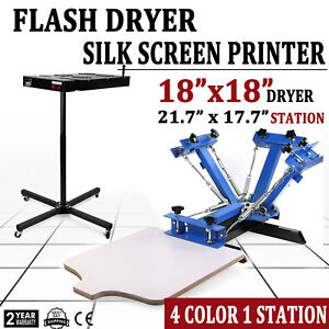 4 Color 1 Station Silk Screen Printing 18in Temp Control Flash Dryer T shirt New