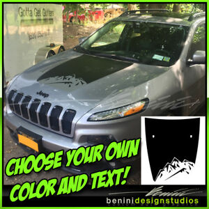 2014 2015 2016 2017 2018 Jeep Cherokee Mountain Hood Decal Blackout Style 4