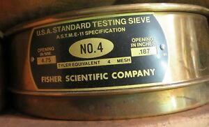 Fisher Mesh Brass Sieve Full Hgt No 4