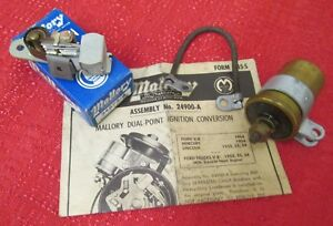 Ford V8 Dual Point Conversion 24900a Mallory Nos Years 1952 Thru 1956