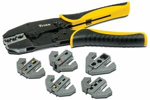 Titan 11950 Ratcheting Wire Terminal Crimping Set Pack Of 7