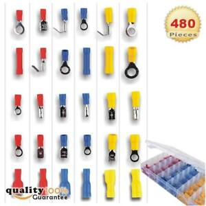 480pcs 12 Size Assorted Insulated Electrical Wiring Wire Terminal Crimp Kit