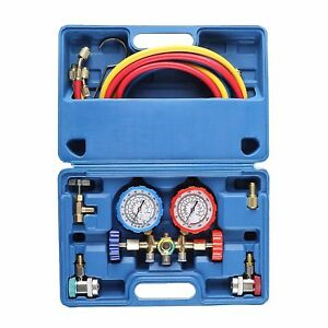 3 Way Ac Diagnostic Manifold Gauge Set For Freon Charging Fits R134a R12 R22
