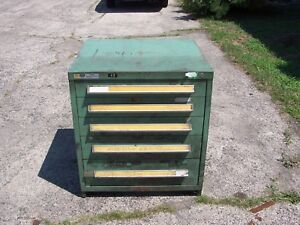Stanley Vidmar Green 5 Drawer Industrial Tool parts Cabinet 30 l X 28 w X 33 H