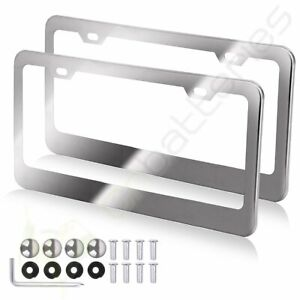 2x 2 Hole Metal License Plate Frame Hd Stainless Steel Chrome For Audi Bmw Acura