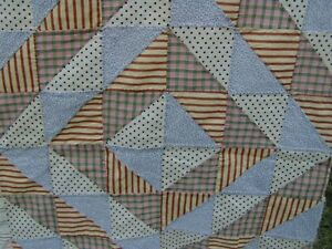 1900s Hand Stitched Shirting Chambray Shirt Feed Sack 86 X 84 Quilt Top