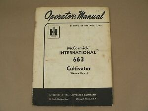 Mccormick International 663 Cultivator Narrow Rows Owners Manual Harvester 1962