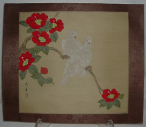 Signed 1919 49 Chinese Silk Hand Painting Doves Apple Blossoms Rice Paper Org