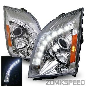 For 2008 2013 Cadillac Cts Drl Led Strip Chrome Left right Projector Headlights